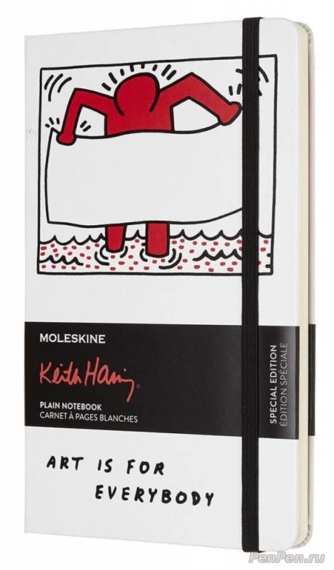 Блокнот Moleskine Limited Edition KEITH HARING LEKH01QP062 Large 130х210мм 240стр. нелинованный белый